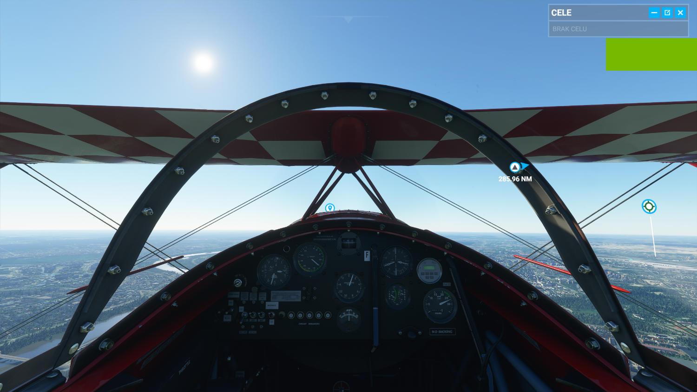Widok z kokpitu pilota we Flight Simulator
