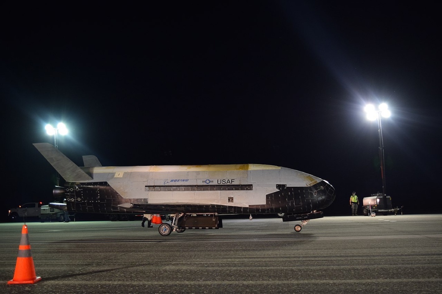 The Air Force's X-37B Orbital Test Vehicle Mission 5 successfully landed at NASA's Kennedy Space Center Shuttle Landing Facility Oct. 27, 2019. The X-37B OTV is an experimental test program to demonstrate technologies for a reliable, reusable, unmanned space test platform for the U.S. Air Force.