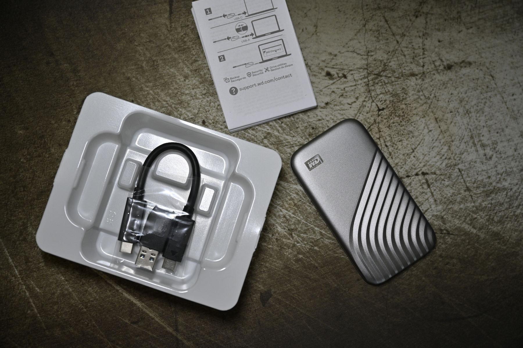 WD My Passport SSD pudełko kabel