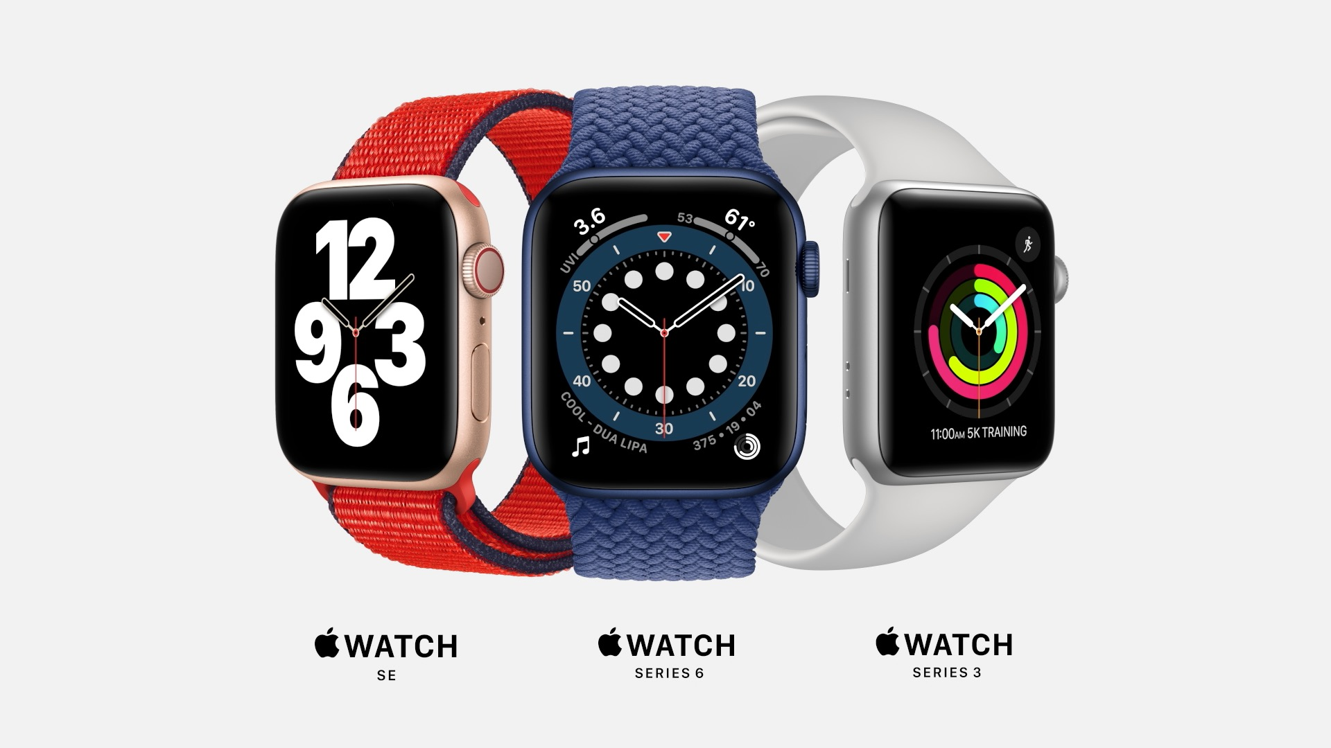 Zegarki Apple Watch SE, Apple Watch 6, Apple Watch 3
