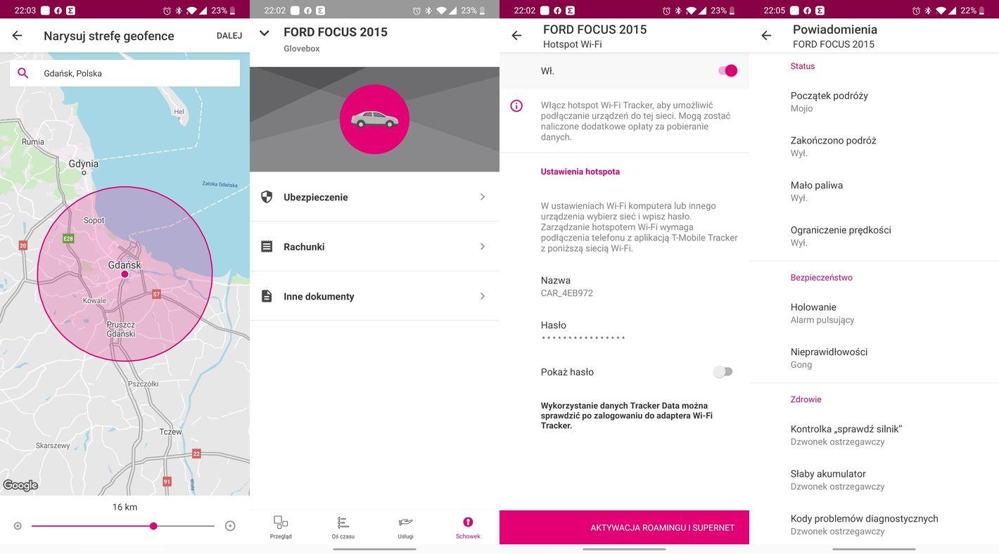 Aplikacja T-Mobile Tracker geofencing