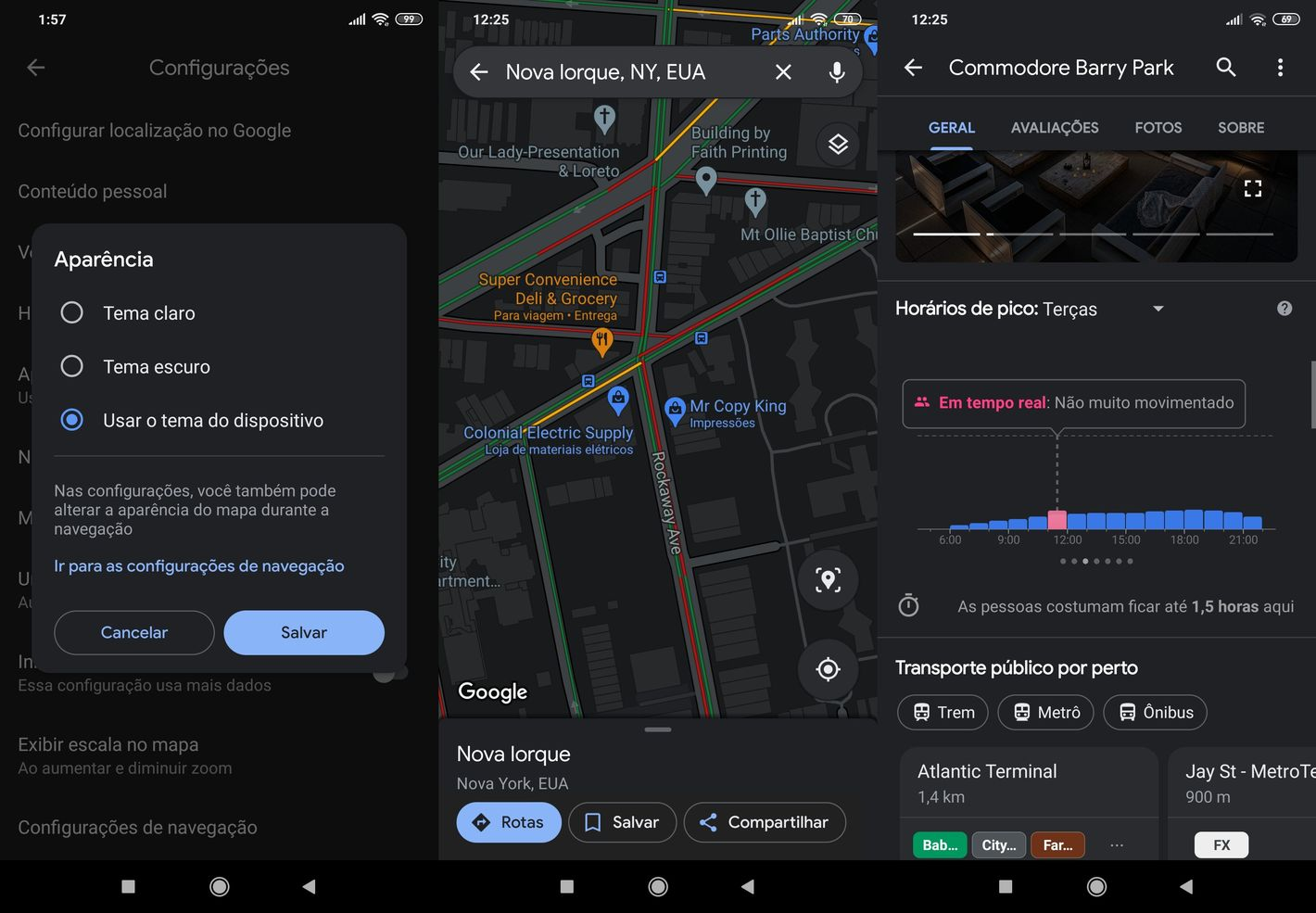 Mapy Google ciemny motyw