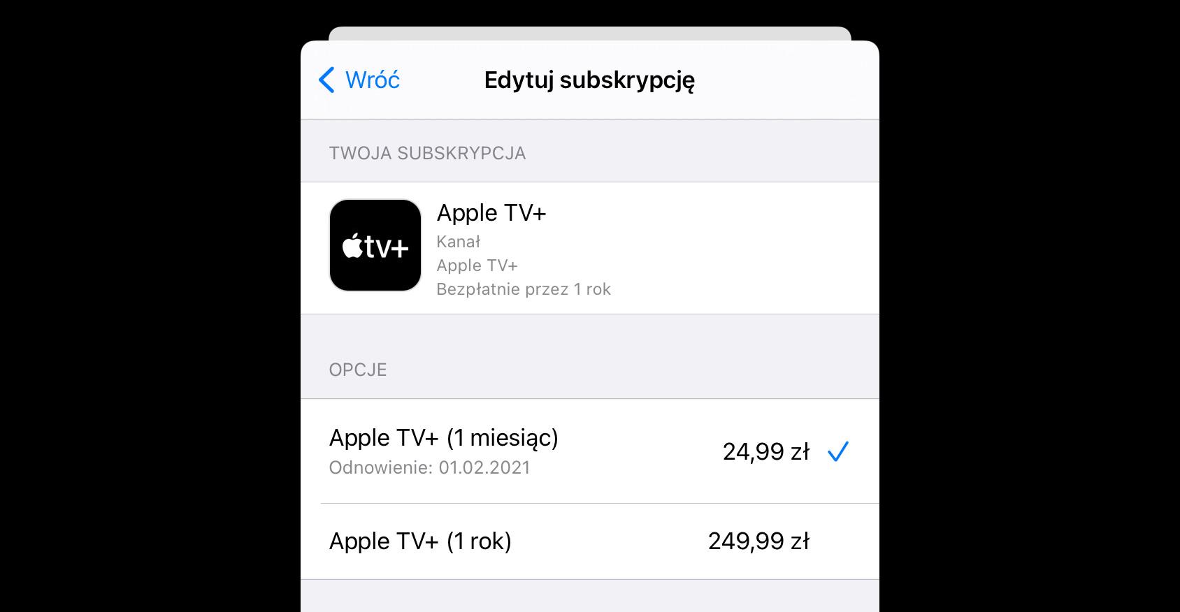subskrypcja apple tv+