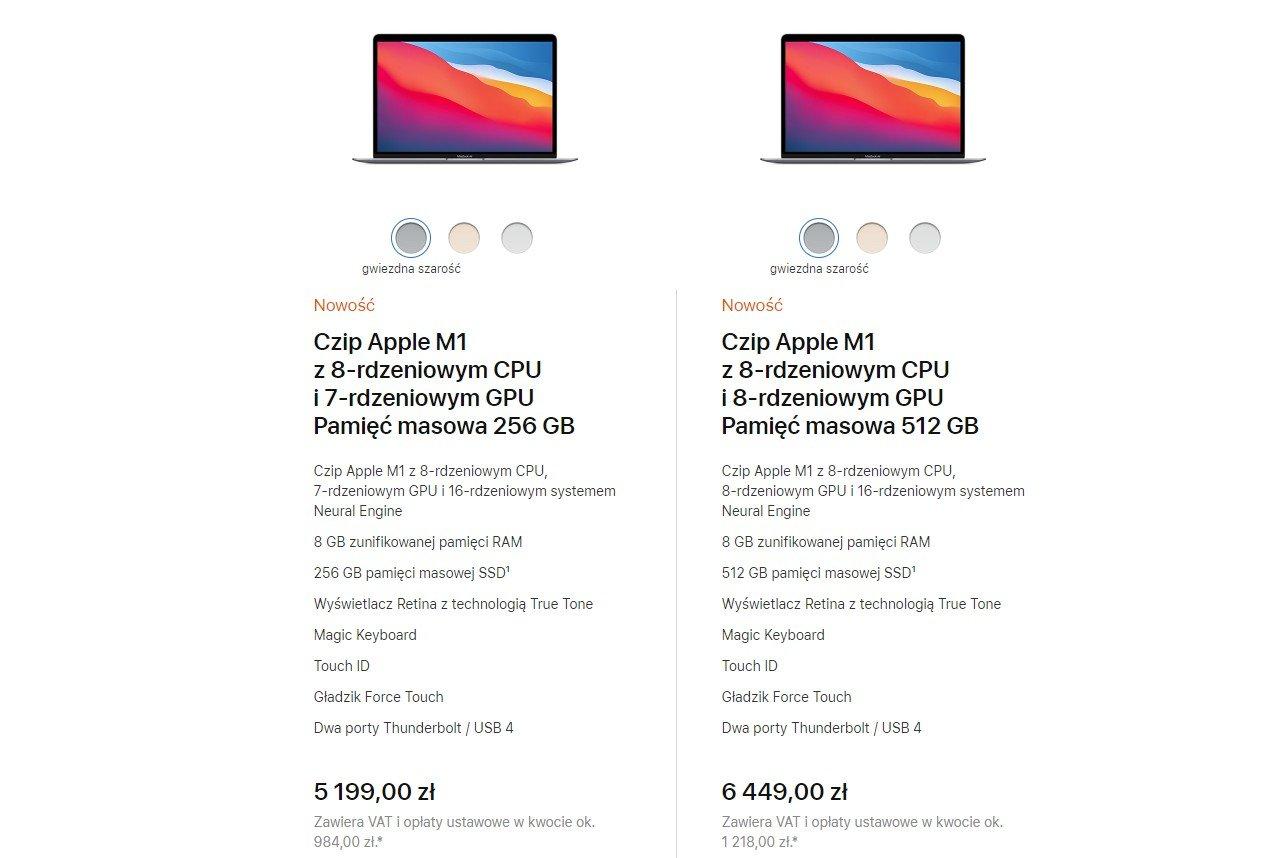 Apple Macbook Air z M1 polski cennik
