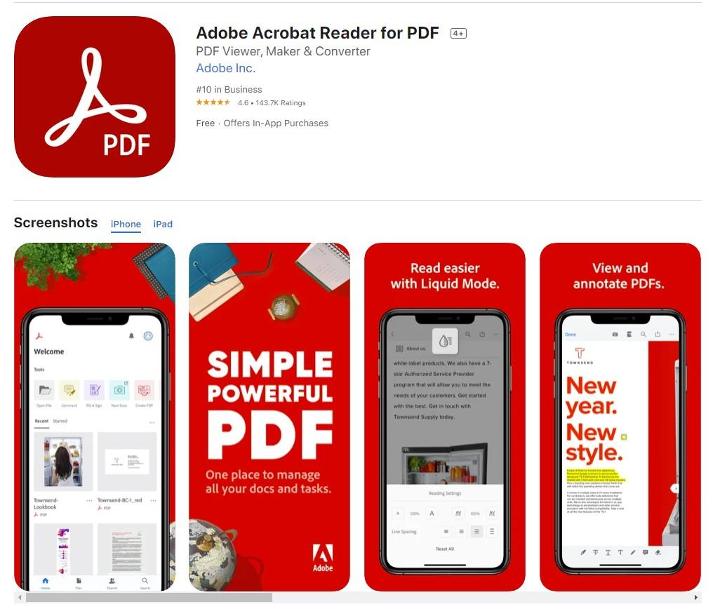 Adobe Acrobat Reader dla iOS