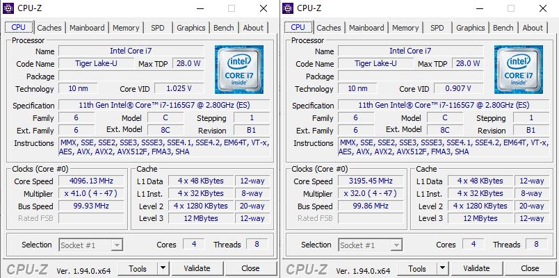 Acer Swift 5 z Intel Tiger Lake cpu-z