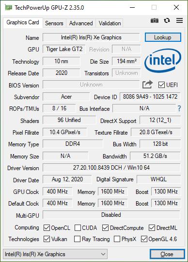 Acer Swift 5 z Intel Tiger Lake GPU-Z