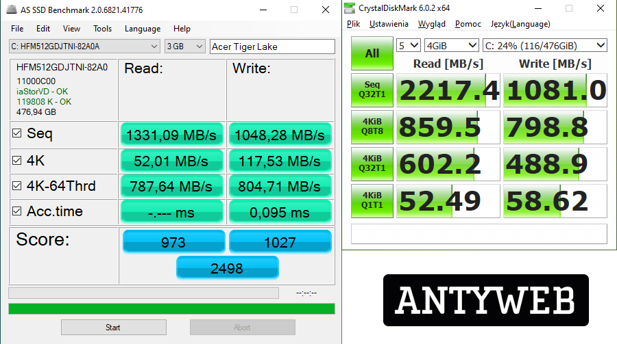 Acer Swift 5 z Intel Tiger Lake wydajność SSD