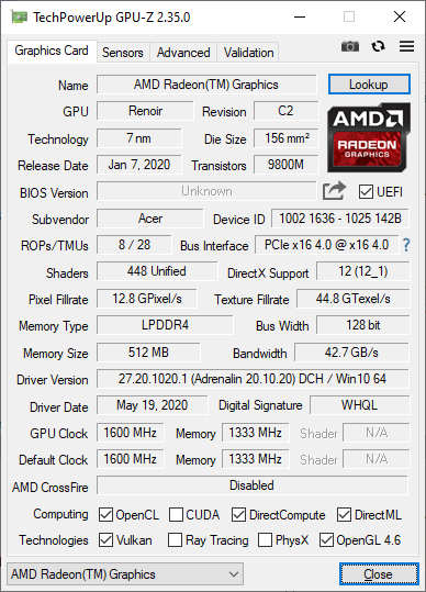 Acer Swift 3 z AMD Ryzen 7 4700U GPU-Z