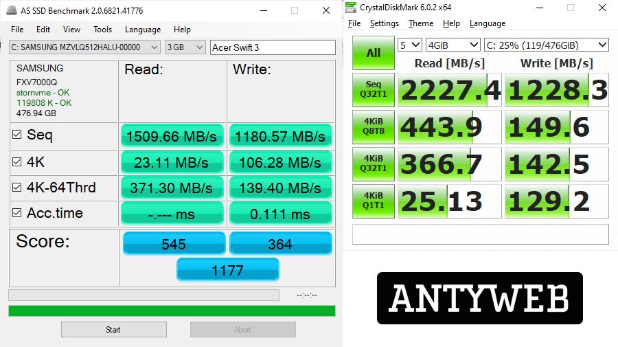 Acer Swift 3 z AMD Ryzen 7 4700U wydajność SSD