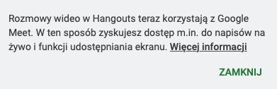 komunikat google hangouts