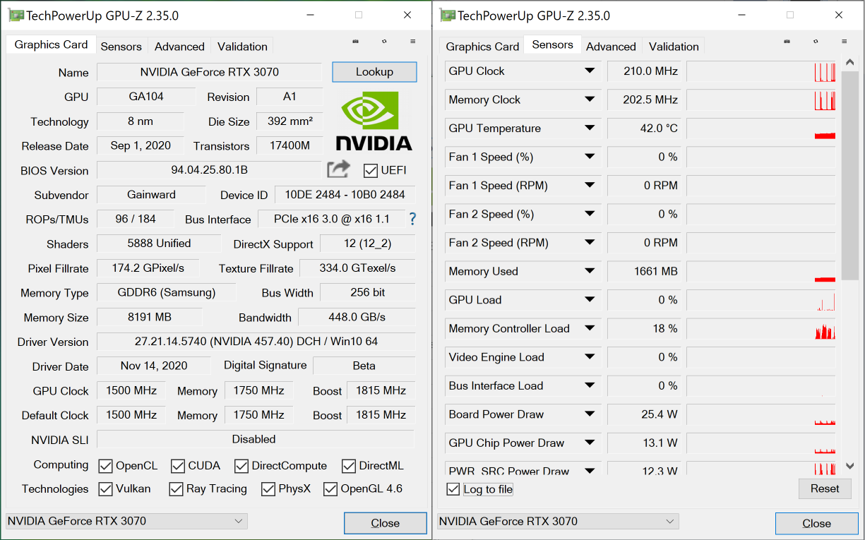 Gainward Phantom GeForce RTX 3070 8 GB GPU-Z