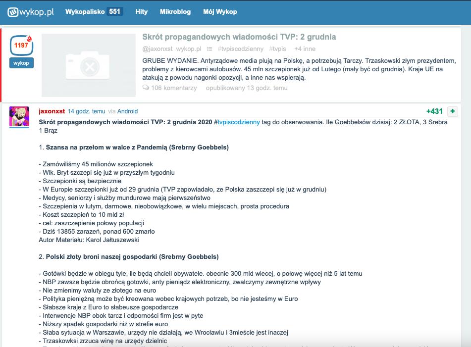 Skirt propagandowych wiadomości TVP
