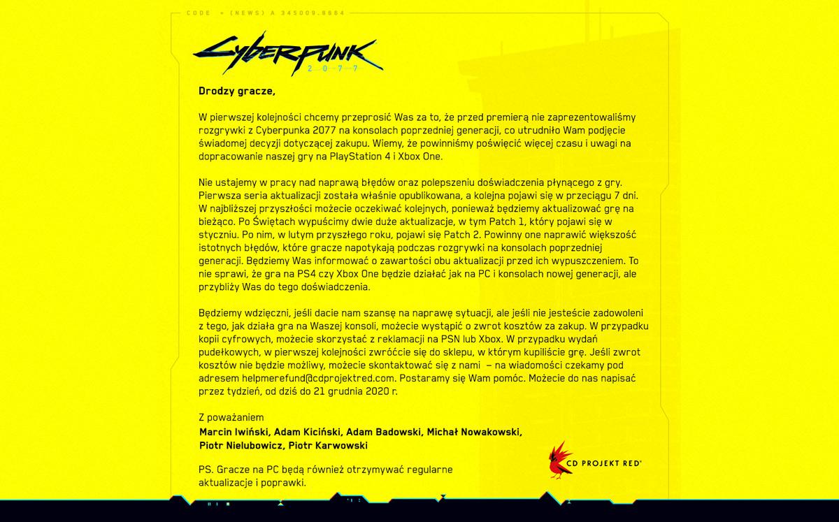 przeprosiny od CD Projekt Red