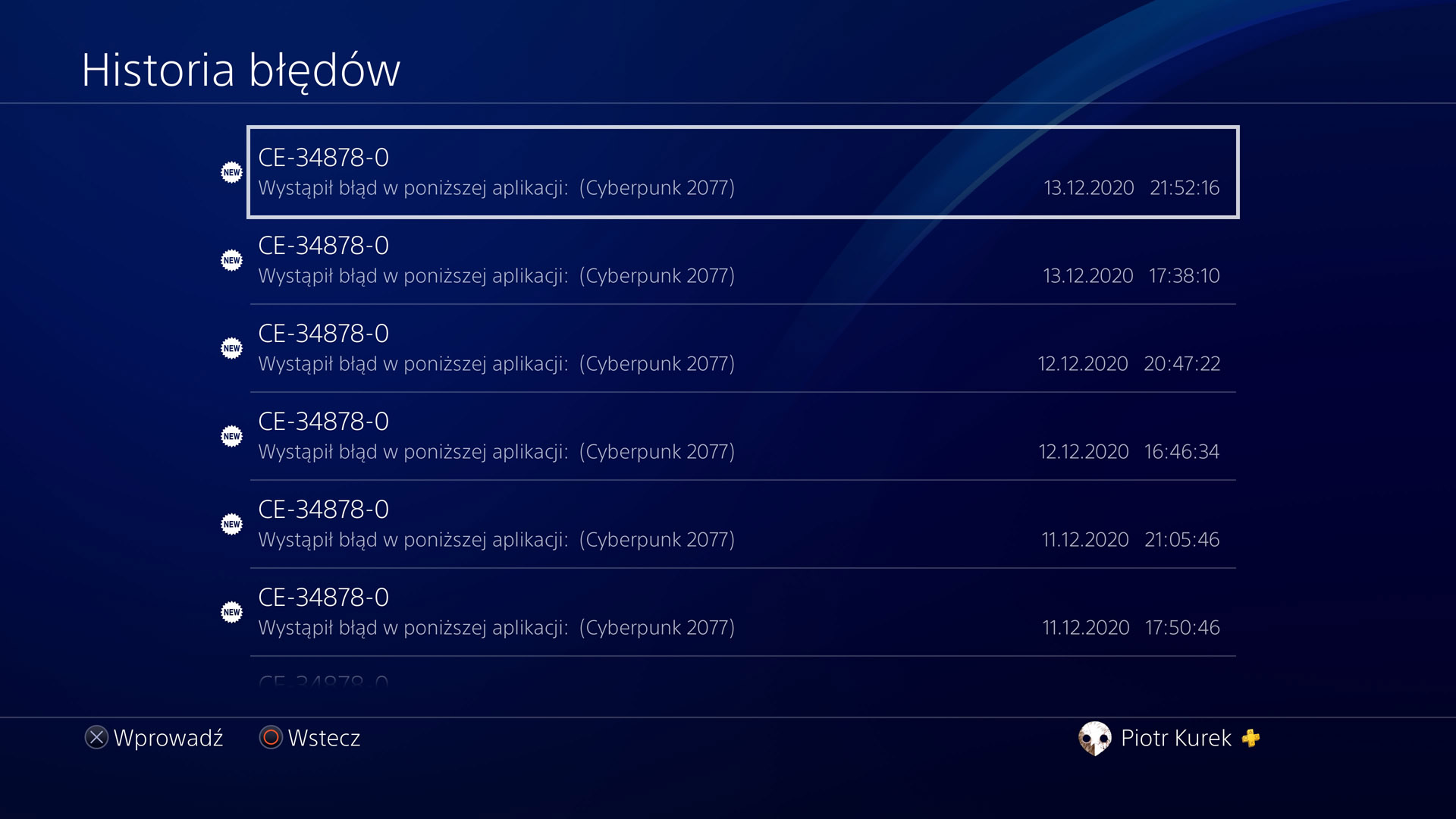 historia błędów na konsoli PS4