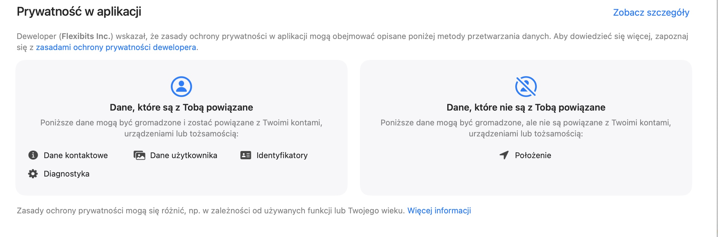 prywatność w aplikacji app store