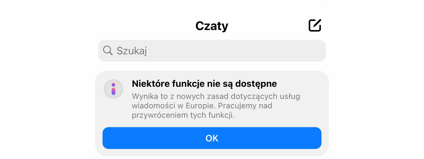 zrzut ekranu z aplikacji Messenger