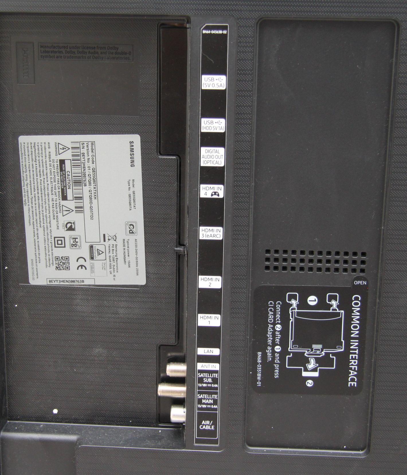 Samsung QLED QE55Q80T porty