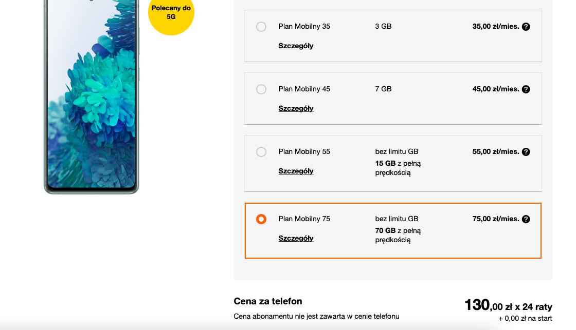 Orange Samsung Galaxy S20 FE 5G