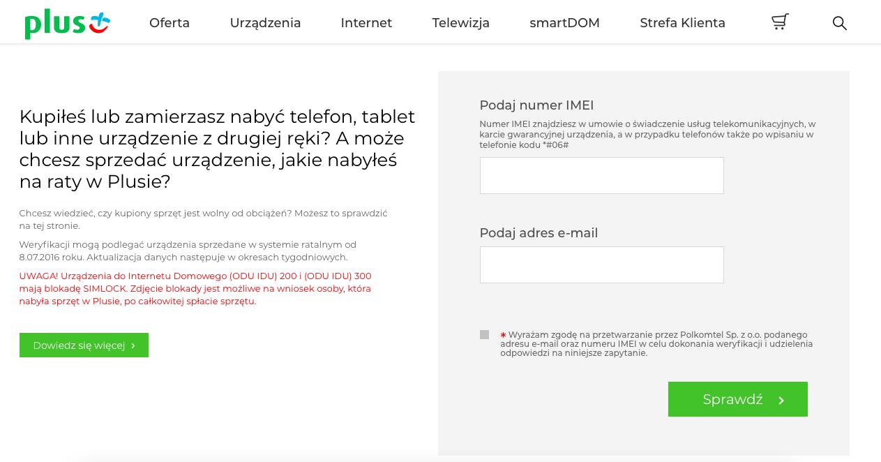 Sprawdzanie numeru IMEI w sieci Plus