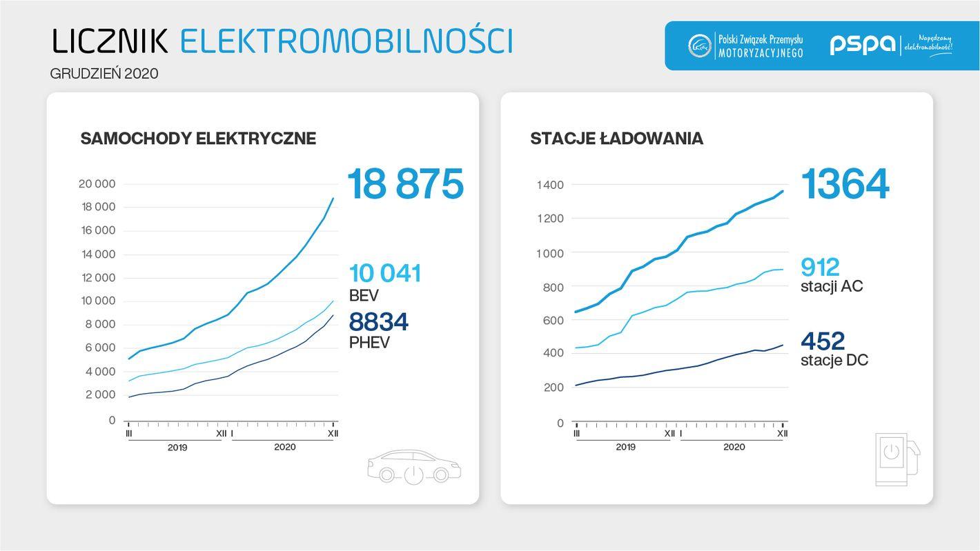 Sprzedaż samochodów elektrycznych w Polsce