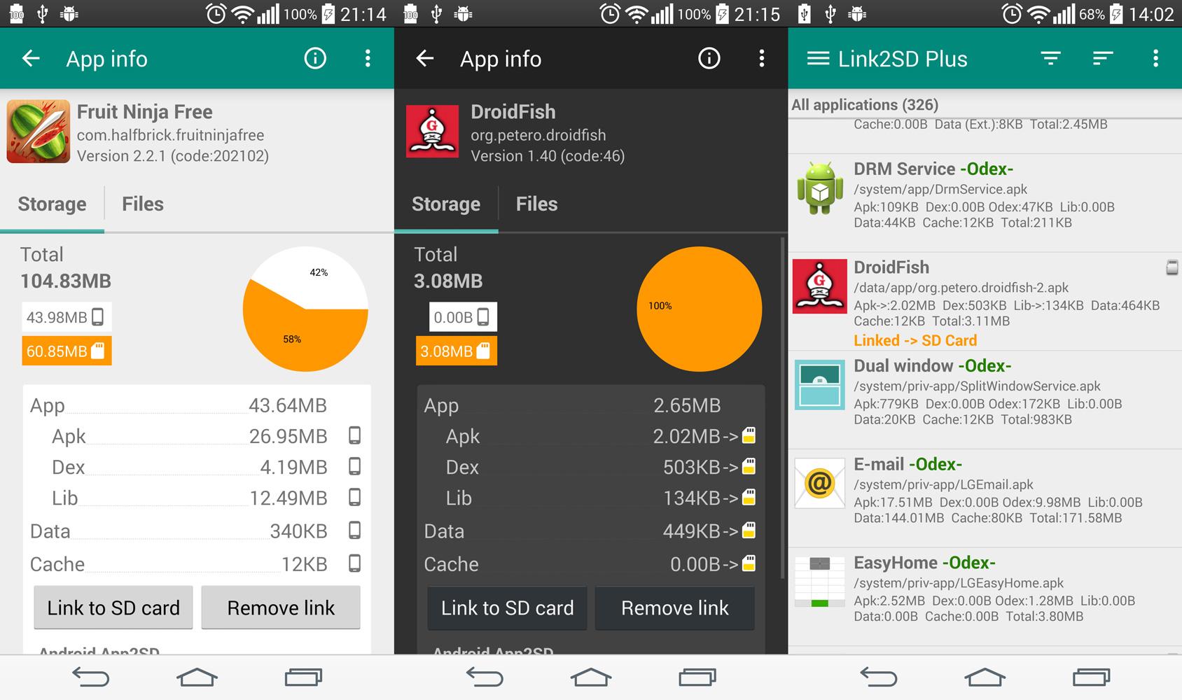 zrzuty ekranu aplikacji Link2SD