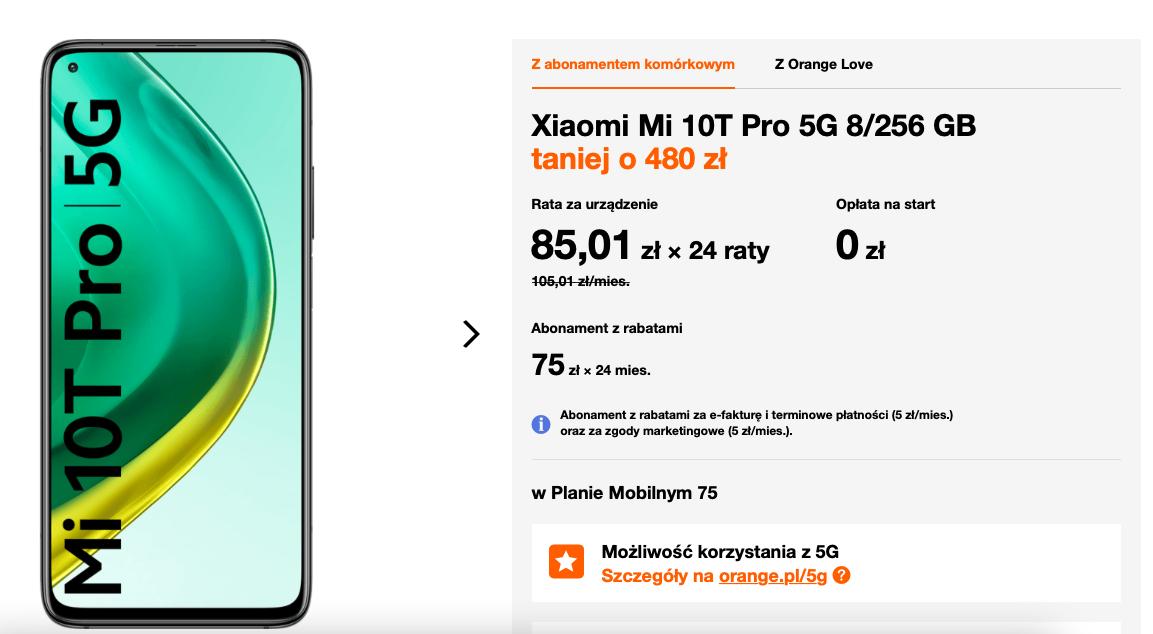 Xiaomi Mi 10T Pro 5G 8/256GB w abonamencie Orange
