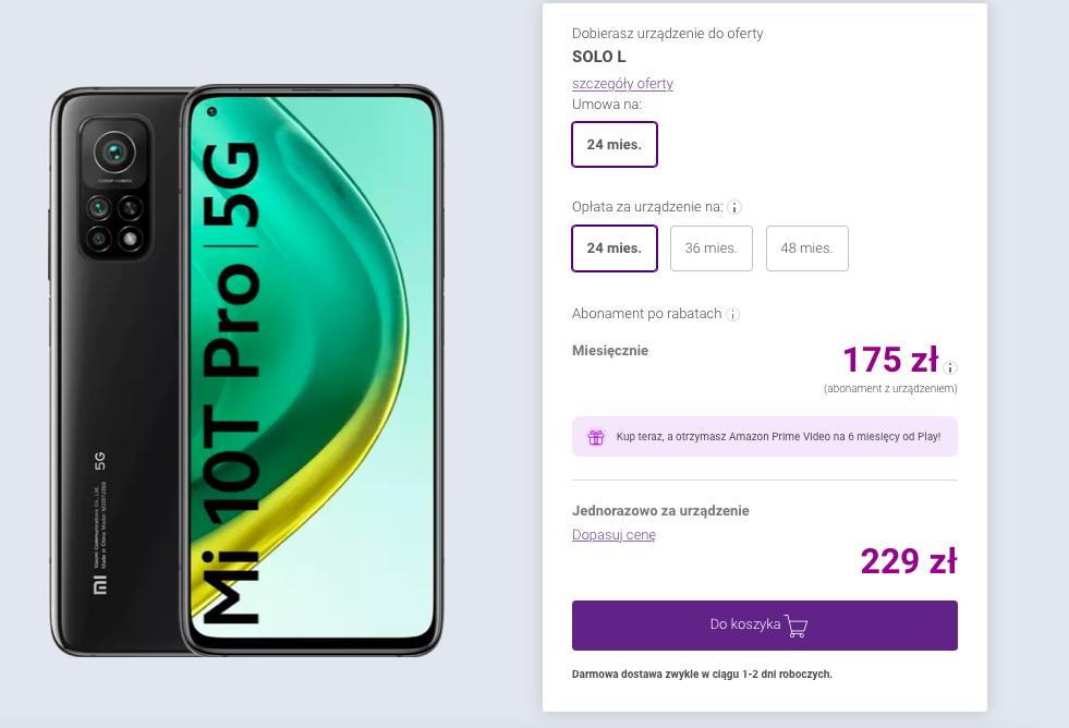 Xiaomi Mi 10T Pro 5G 8/256GB w abonamencie Play