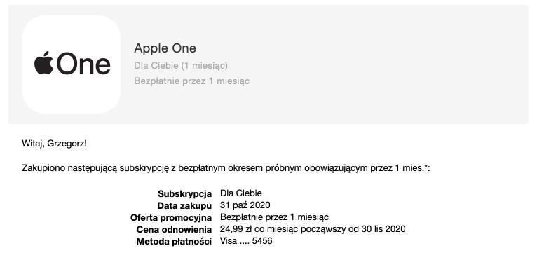 subskrypcja apple one