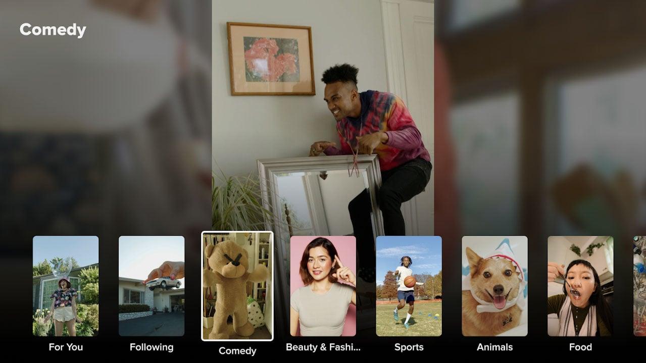 tiktok android tv interfejs