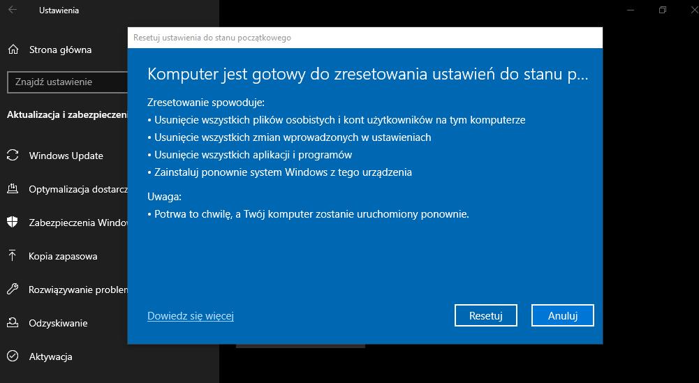 Przywracanie ustawień fabrycznych Windows 10