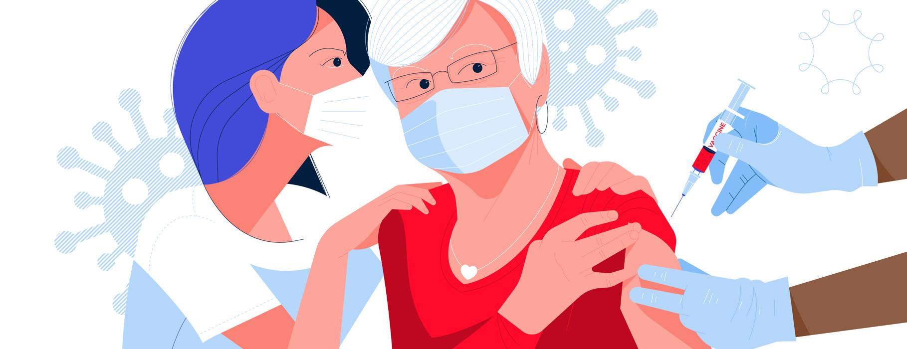grafika przedstawiająca szczepienie