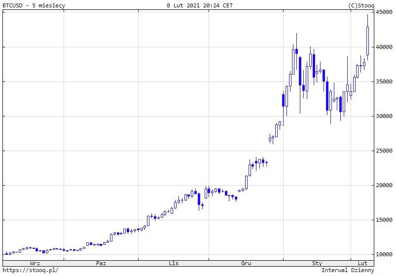Wykres notowań Bitcoina w USD