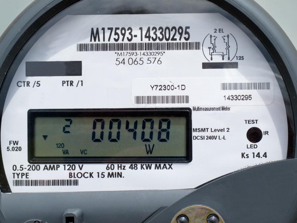Close-up of modern smart grid residential digital power supply meter
