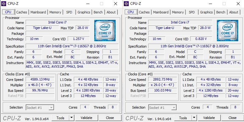 ASUS Zenbook Duo UX482 CPU-Z specyfikacja