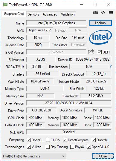 ASUS Zenbook Duo UX482 GPU-Z specyfikacja