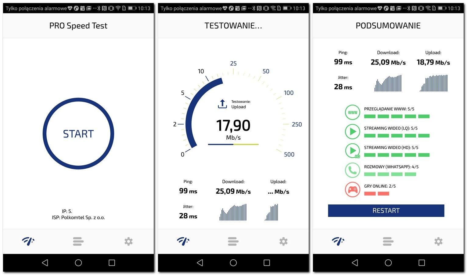 speedtest na smartfonie