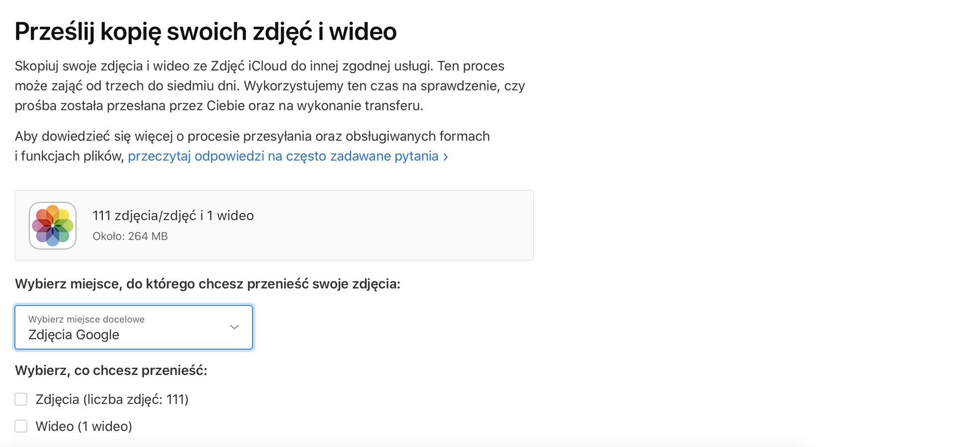 zrzut ekranu przenoszenie zdjęćz icloud do google