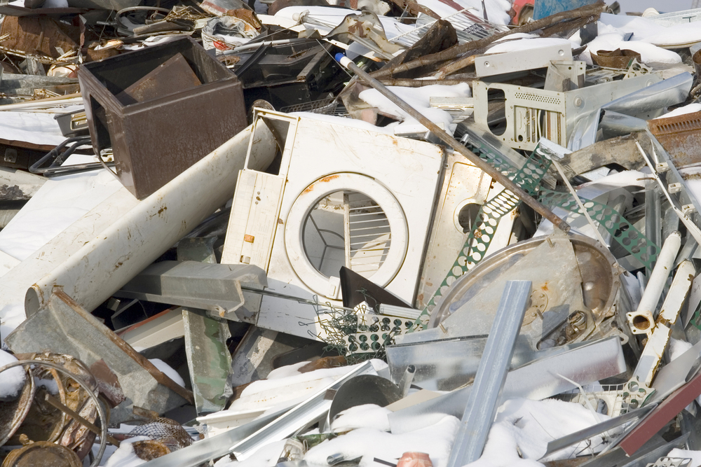 Scrap Metal and household waste at recycling facility