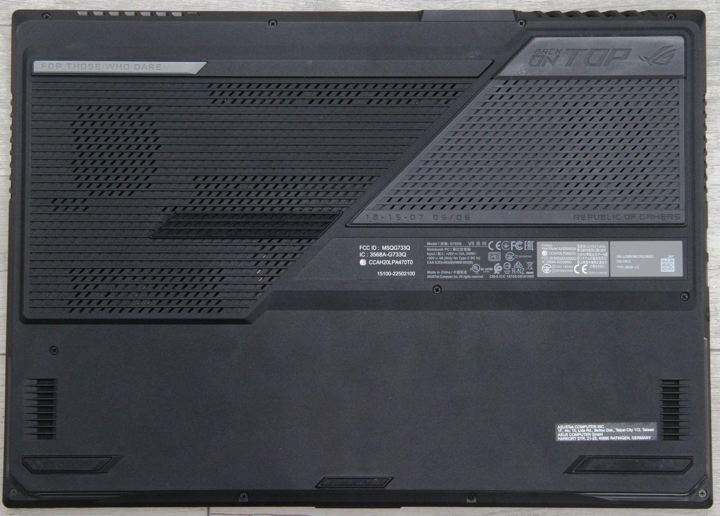 ASUS ROG Strix Scar 17 G733 spód