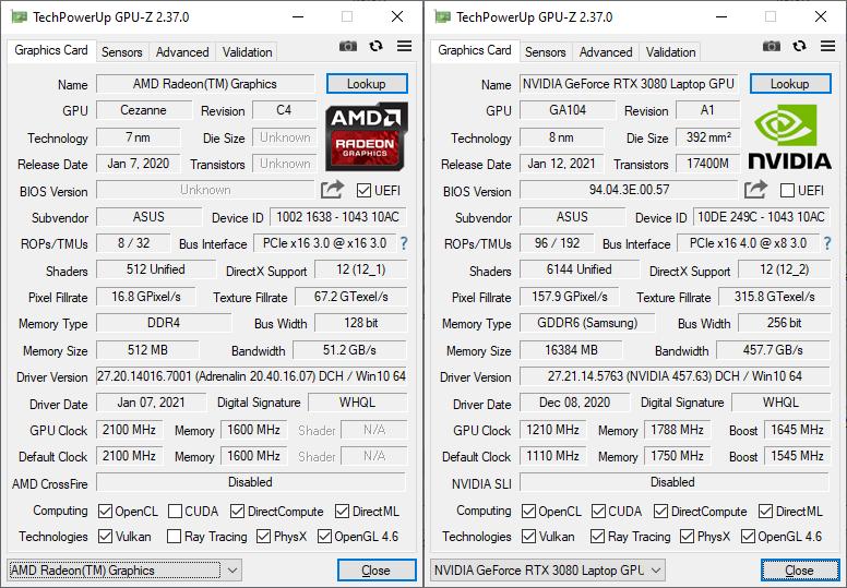ASUS ROG Strix Scar 17 G733 GPUZ