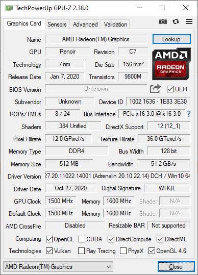 Huawei Matebook D 16 GPUZ