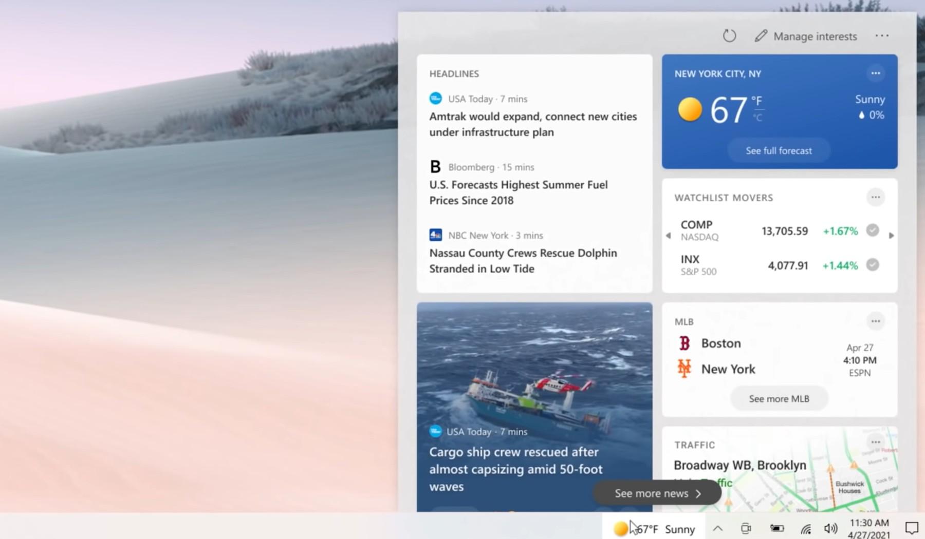Windows widget newsy i informacje