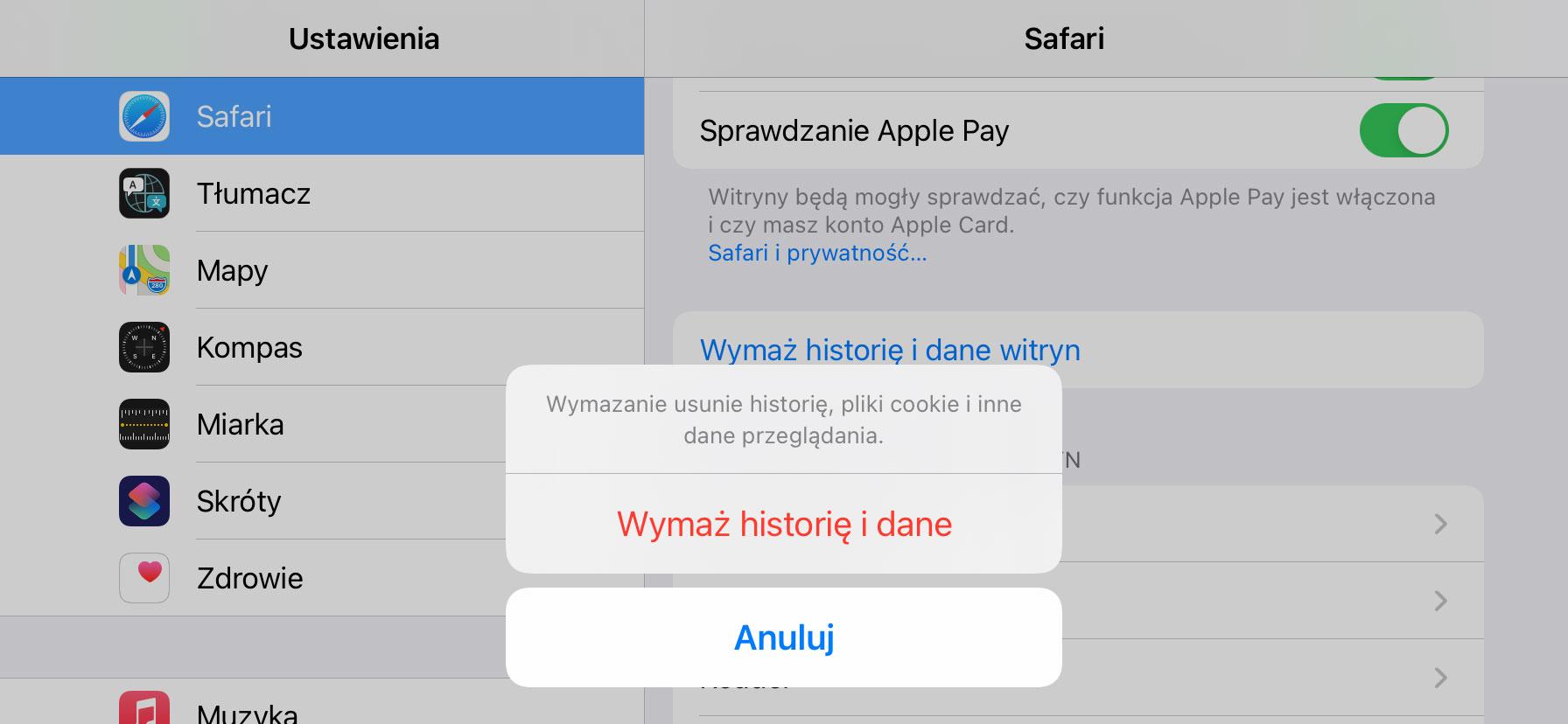 ustawienia systemu iOS
