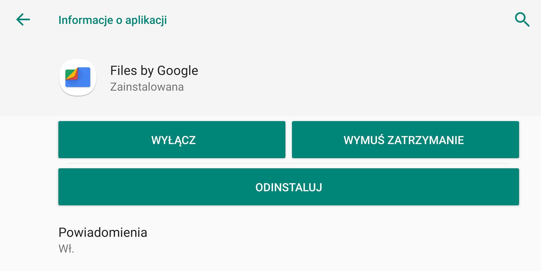 ustawienia systemu Android