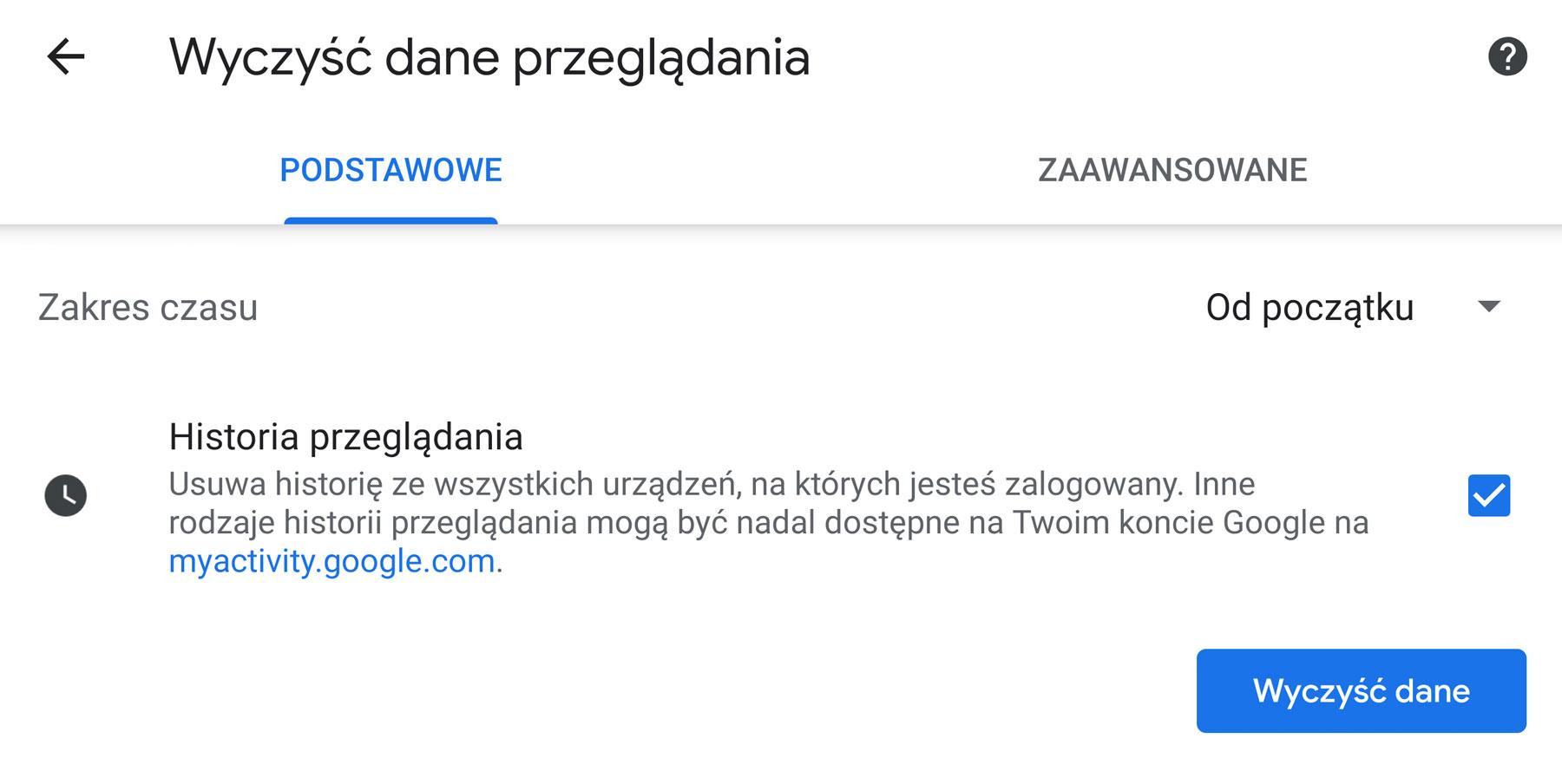 ustawienia Google Chrome