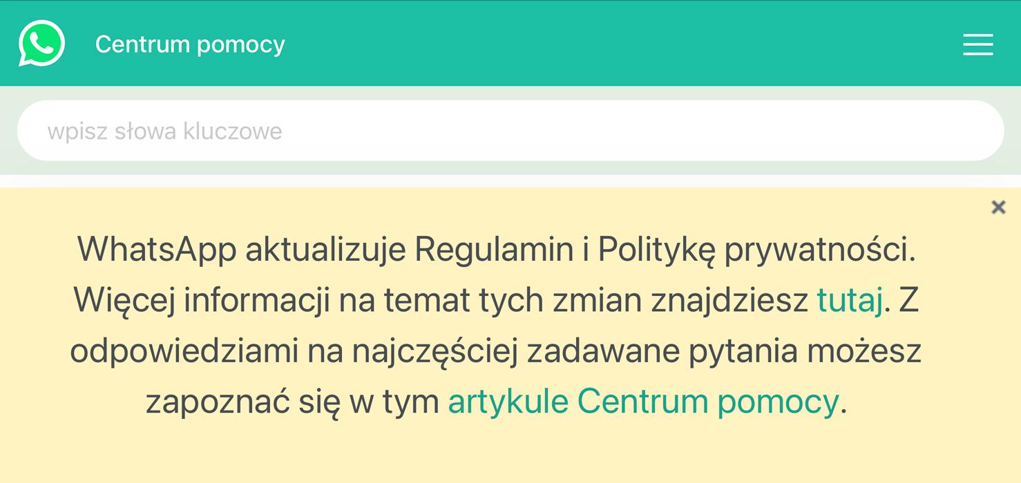 WhatSapp informacja o regulaminie