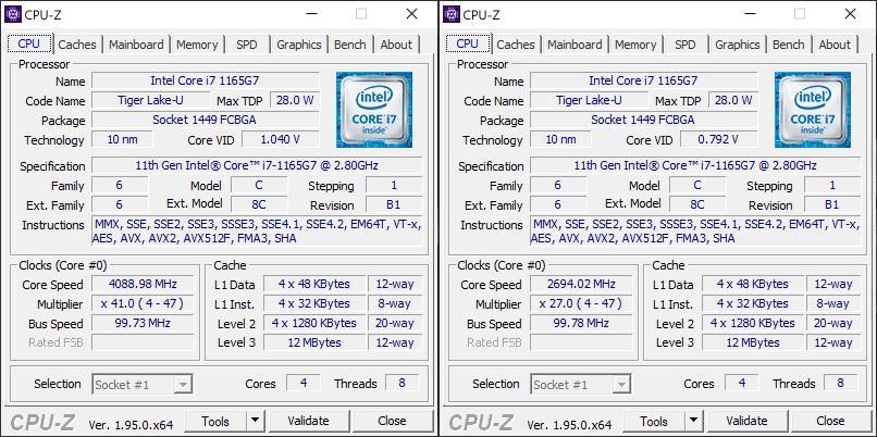 Huawei Matebook X Pro 2021 CPU-Z