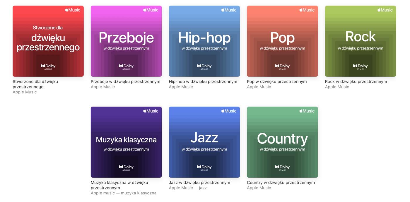 playlisty oferujące dźwięk przestrzenny z Dolby Atmos w Apple Music