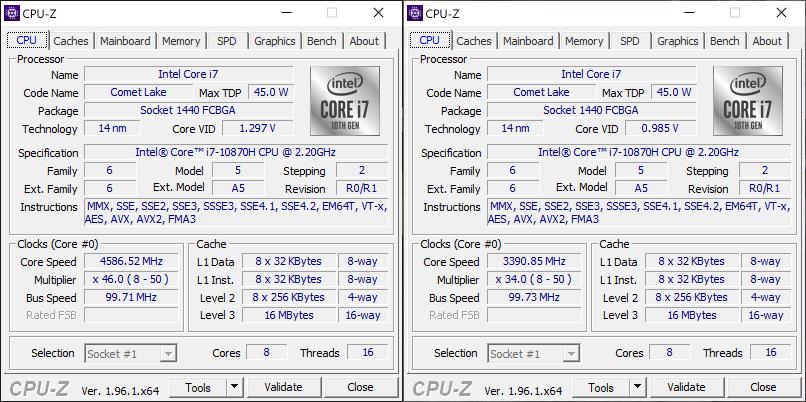 ASUS ZenBook Pro Duo UX582 CPUZ taktowania